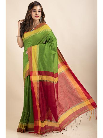 Green Cotton Handloom with Red Pallu Saree-2