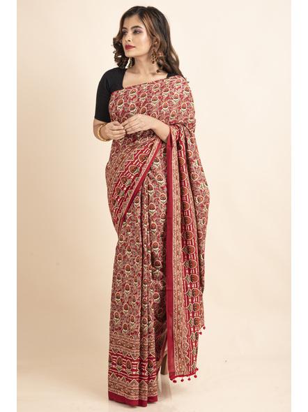 Pure Cotton Red Floral Kalamkari Red Pompom Saree-5