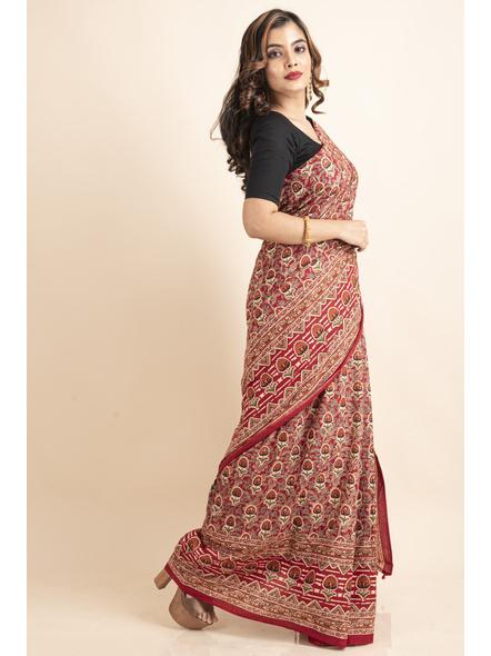 Pure Cotton Red Floral Kalamkari Red Pompom Saree-4
