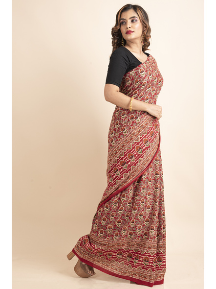 Pure Cotton Red Floral Kalamkari Red Pompom Saree-2