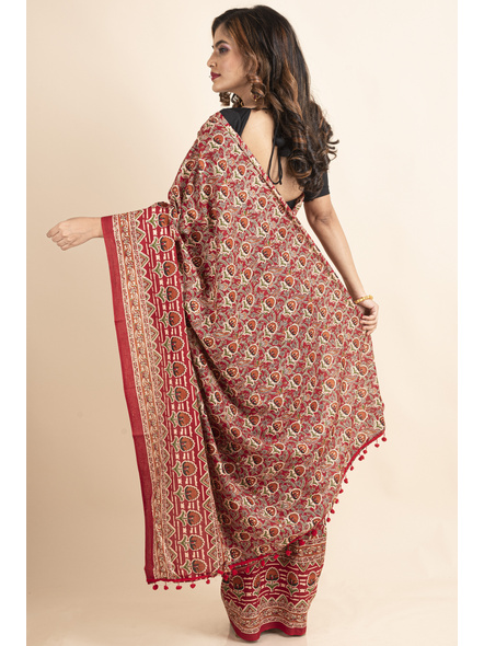 Pure Cotton Red Floral Kalamkari Red Pompom Saree-1