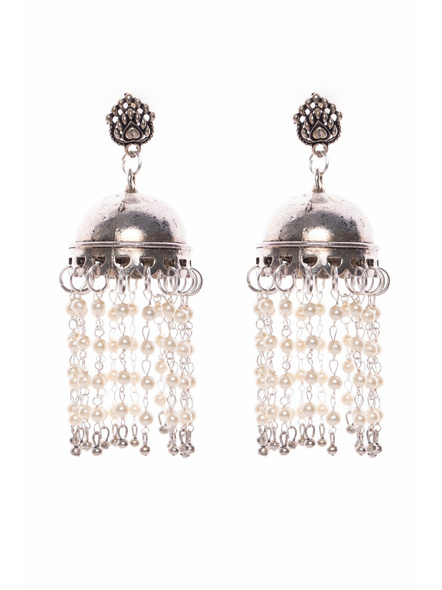Designer German Silver Stud with Jhumka and Pearl chain-LAAER413