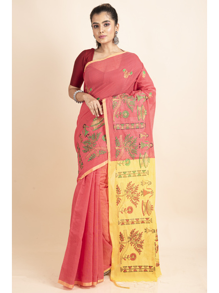 Peach Yellow Cotton Silk Embroidery Saree with Blouse piece-LAACSHS021