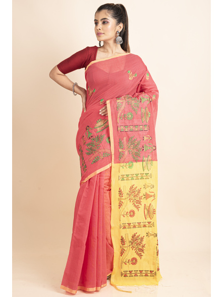 Peach Yellow Cotton Silk Embroidery Saree with Blouse piece-3