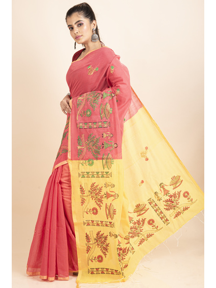 Peach Yellow Cotton Silk Embroidery Saree with Blouse piece-2