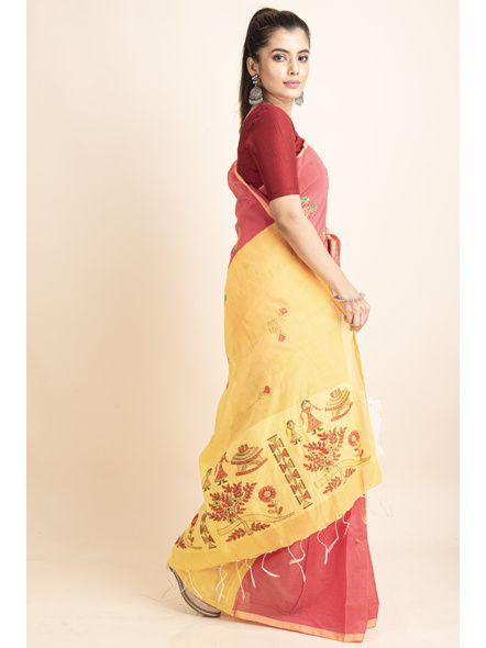 Peach Yellow Cotton Silk Embroidery Saree with Blouse piece-5