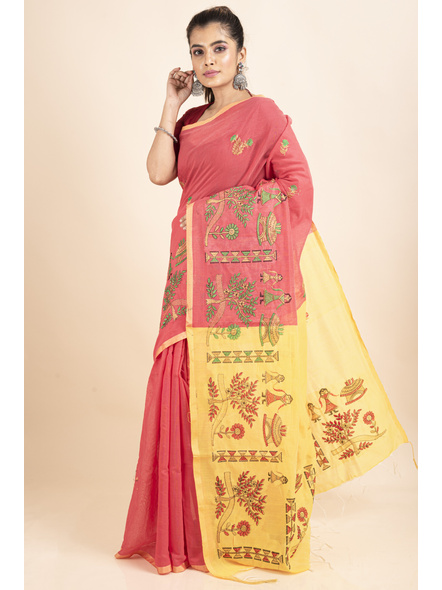 Peach Yellow Cotton Silk Embroidery Saree with Blouse piece-4