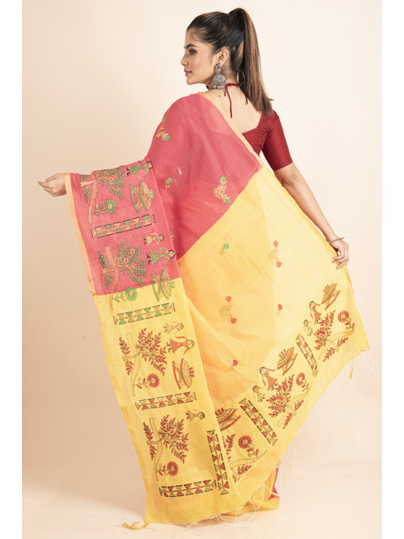 Peach Yellow Cotton Silk Embroidery Saree with Blouse piece-1