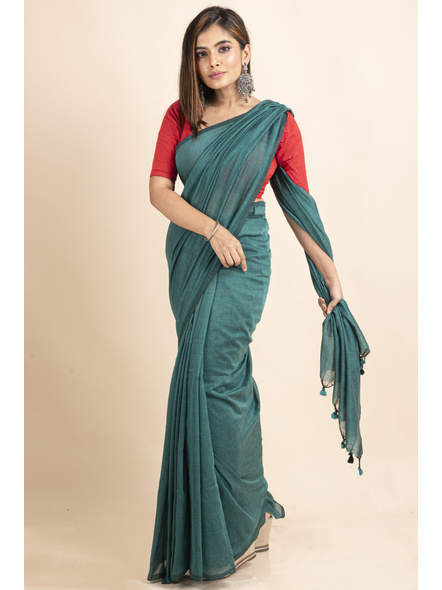 Mercerized Handloom Sea Green Khadi Cotton Saree with Pompom and Blouse Piece-LAAMHCWBP024