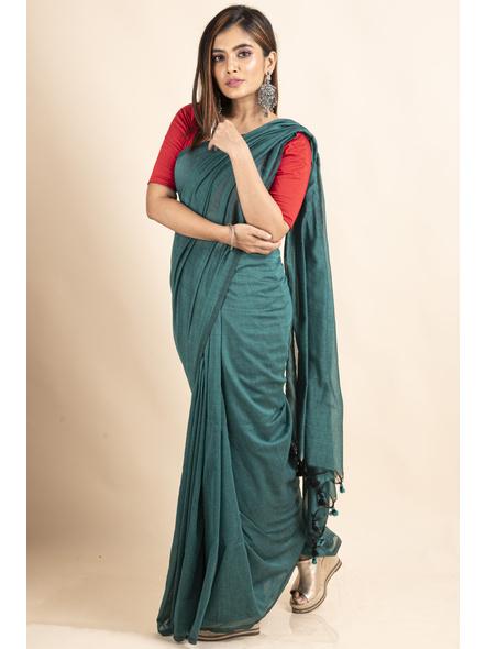 Mercerized Handloom Sea Green Khadi Cotton Saree with Pompom and Blouse Piece-4