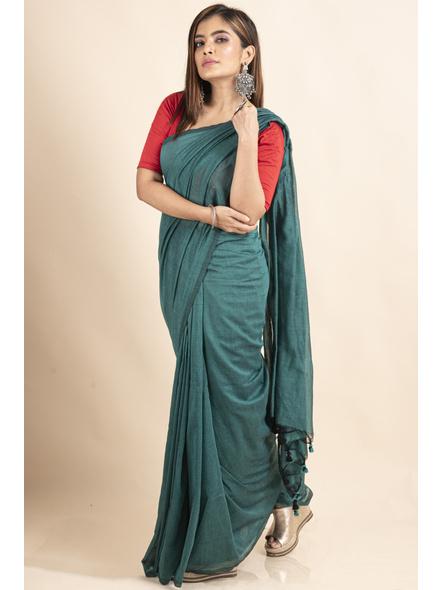 Mercerized Handloom Sea Green Khadi Cotton Saree with Pompom and Blouse Piece-2