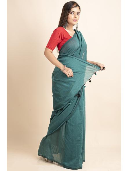 Mercerized Handloom Sea Green Khadi Cotton Saree with Pompom and Blouse Piece-3