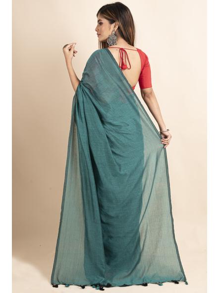 Mercerized Handloom Sea Green Khadi Cotton Saree with Pompom and Blouse Piece-1