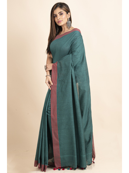 Mercerized Handloom Pine Green Red Khadi Cotton Saree with Pompom and Blouse Piece-4