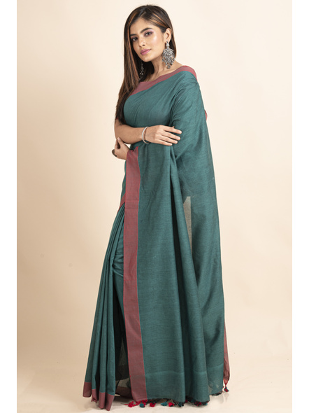 Mercerized Handloom Pine Green Red Khadi Cotton Saree with Pompom and Blouse Piece-3
