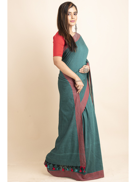 Mercerized Handloom Pine Green Red Khadi Cotton Saree with Pompom and Blouse Piece-2