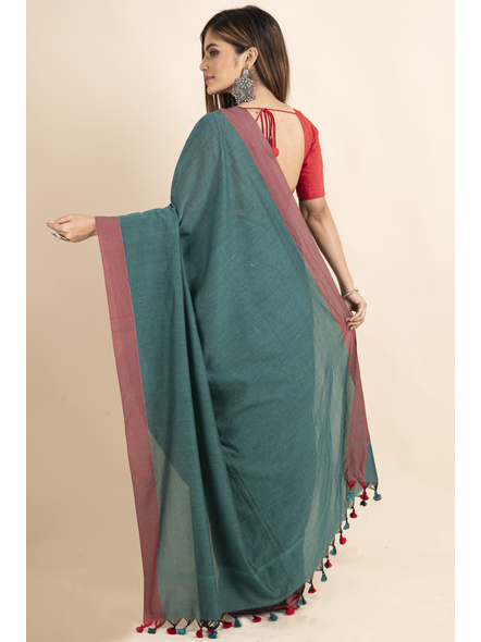 Mercerized Handloom Pine Green Red Khadi Cotton Saree with Pompom and Blouse Piece-1