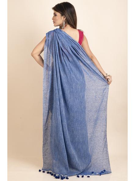 Mercerized Handloom Khadi Cotton Royal Blue White Saree with Blouse Piece-1