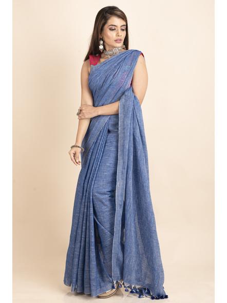 Mercerized Handloom Khadi Cotton Royal Blue White Saree with Blouse Piece-LAAMHCWBP026