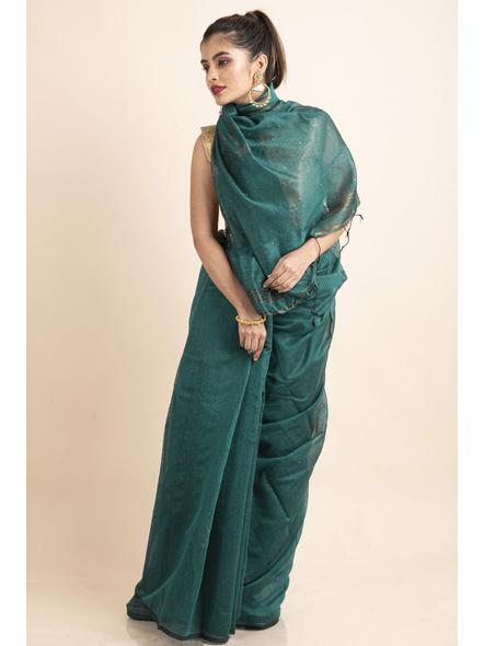 Teal Green Sequin Box Cotton Silk Handloom Saree with Blouse piece-2