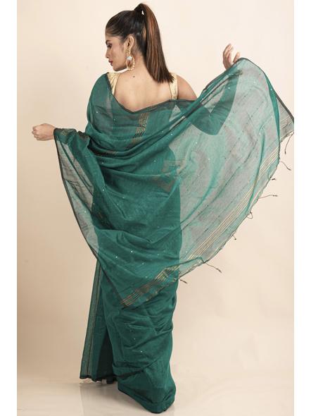 Teal Green Sequin Box Cotton Silk Handloom Saree with Blouse piece-1