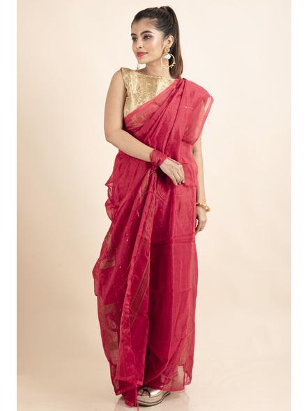 Peach Sequin Box Cotton Silk Handloom Saree with Blouse piece-2