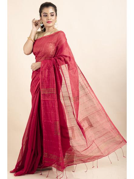 Peach Sequin Box Cotton Silk Handloom Saree with Blouse piece-LAACSHS002
