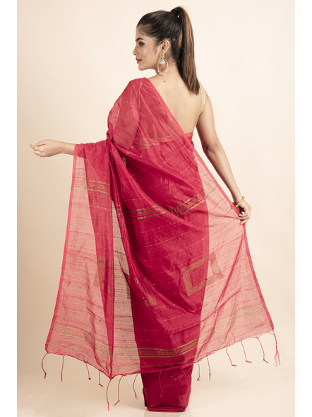 Peach Sequin Box Cotton Silk Handloom Saree with Blouse piece-1