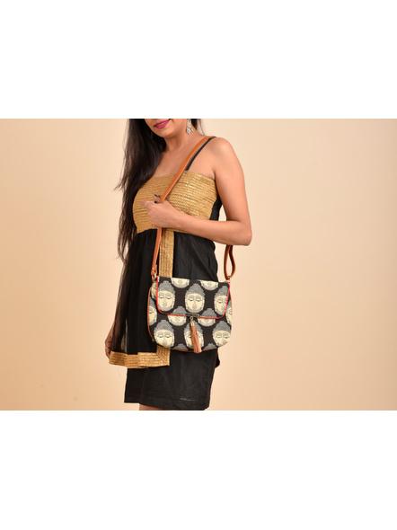 Handcrafted Black Kalamkari Buddha Print Fabric Sling Bag with Designer Leather Tassel-1