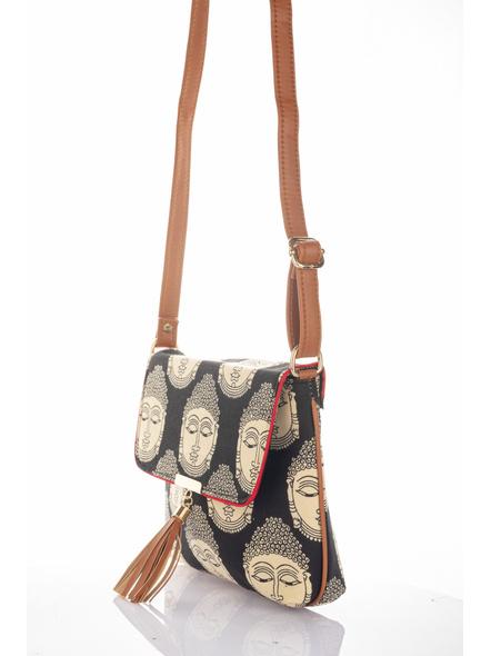 Handcrafted Black Kalamkari Buddha Print Fabric Sling Bag with Designer Leather Tassel-4