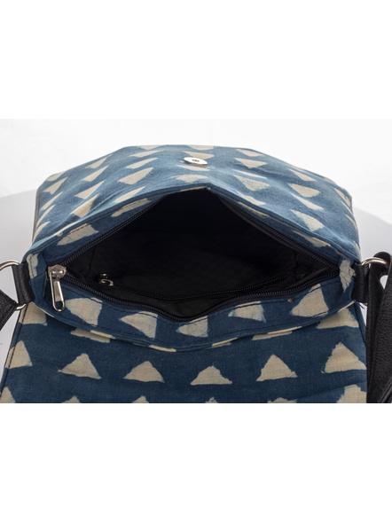 Handcrafted Stylish Rectangular Triangle Print Indigo Sling Bag-3