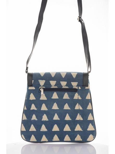 Handcrafted Stylish Rectangular Triangle Print Indigo Sling Bag-2