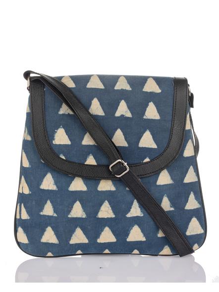Handcrafted Stylish Rectangular Triangle Print Indigo Sling Bag-LAASRSB005