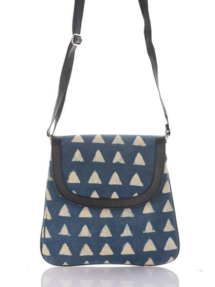 Handcrafted Stylish Rectangular Triangle Print Indigo Sling Bag-1