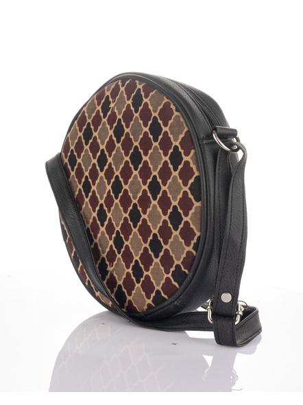 Handcrafted Stylish Circular Ajrakh Sling Bag-5