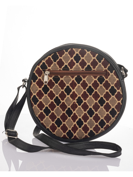 Handcrafted Stylish Circular Ajrakh Sling Bag-4