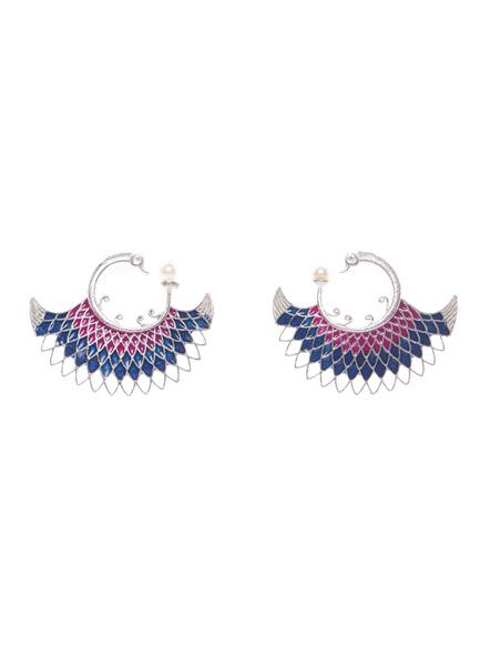 Designer German Silver Pink Blue Meena Peacock stud with Faux Pearl Earring-LAAER414