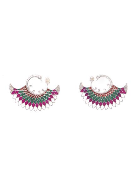 Designer German Silver Orange Green Pink Meena Peacock stud with Faux Pearl Earring-LAAER415