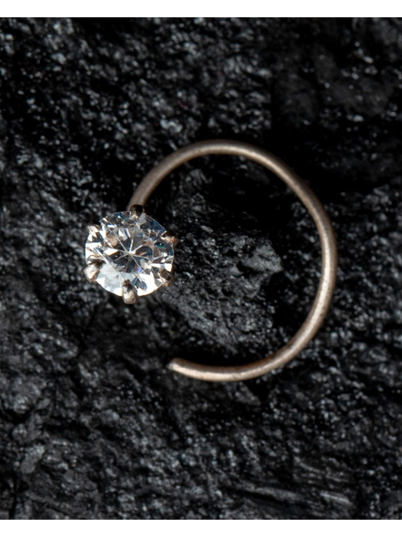 92.5 Pure Silver Nosepin with American Diamond Stone-1