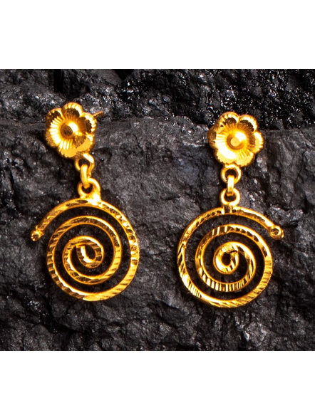 Spiral Designer 1.5g Gold Polished Necklace Set with Red Seed Bead Tassel and Stud Earring-Gold-Copper-Adult-Female-19.5CM-2