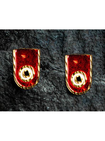 Round Jagannath Deva 1.5g Gold Polished Meenakari Necklace Set with Red Seed Bead Adjustable Tassel-2