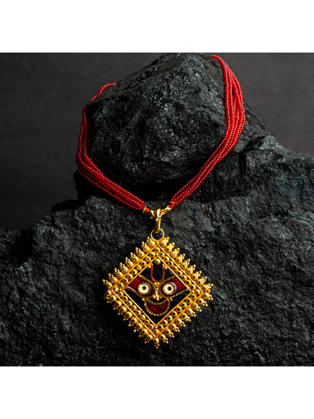 Jagannath Deva Meenakari Pendant 1.5g Gold Polished Necklace Set with Red Seed Bead Tassel and Stud Earring-Gold-Copper-Adult-Female-7.5CM-2