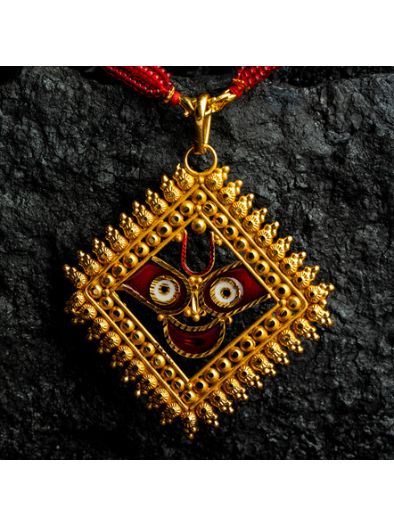 Jagannath Deva Meenakari Pendant 1.5g Gold Polished Necklace Set with Red Seed Bead Tassel and Stud Earring-Gold-Copper-Adult-Female-7.5CM-1