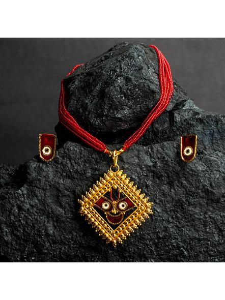 Jagannath Deva Meenakari Pendant 1.5g Gold Polished Necklace Set with Red Seed Bead Tassel and Stud Earring-LAAGP15NLS11
