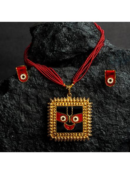 Square Jagannath Deva 1.5g Gold Polished Meenakari Necklace Set with Red Seed Bead Adjustable Tassel-LAAGP15NLS12