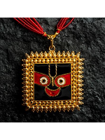 Square Jagannath Deva 1.5g Gold Polished Meenakari Necklace Set with Red Seed Bead Adjustable Tassel-Gold-Copper-Adult-Female-7.2CM-1