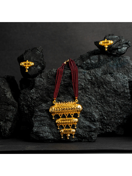 Three Layer 1.5g Gold Polished Amulet Necklace Set with Red Seed Bead Adjustable Tassel-2