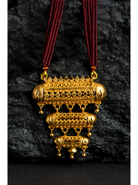 Three Layer 1.5g Gold Polished Amulet Necklace Set with Red Seed Bead Adjustable Tassel-1