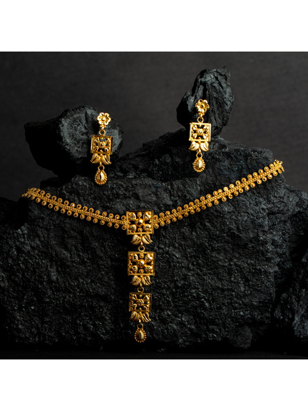 1.5g Gold Polished Floral Necklace Set with  Adjustable Chain-LAAGP15NLS14