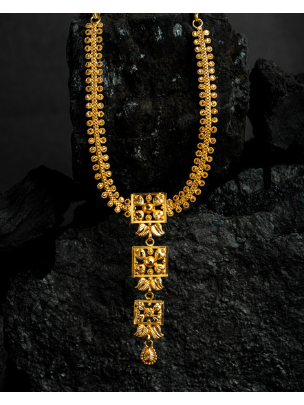 1.5g Gold Polished Floral Necklace Set with  Adjustable Chain-Gold-Copper-Adult-Female-24CM-2